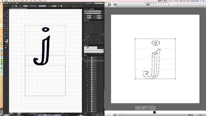 Paste each letter into Glyphs and delete the bounding box How to Create Your Own Font Using Illustrator and Glyphs App - HelloBrio.com