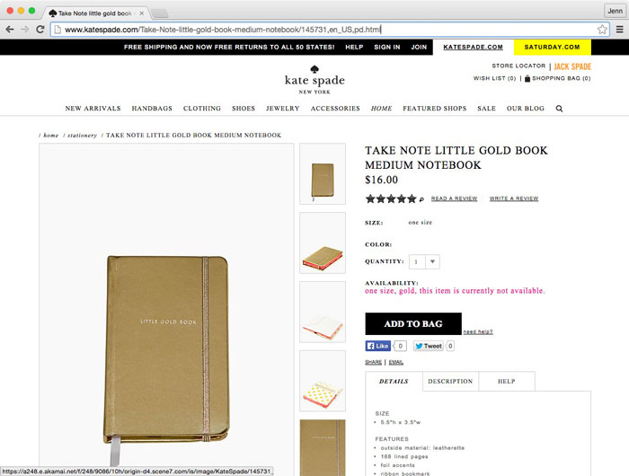 Kate Spade take note little gold book medium notebook product example for a collage tutorial in Photoshop