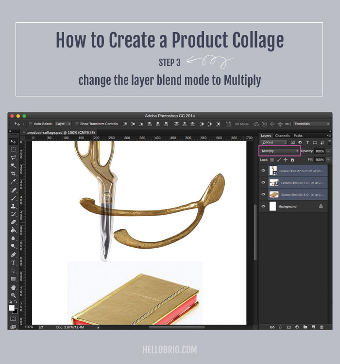 How to create your own product collage in Photoshop - Step 3: Choose multiply blend mode to knock out the white backgrounds of your products