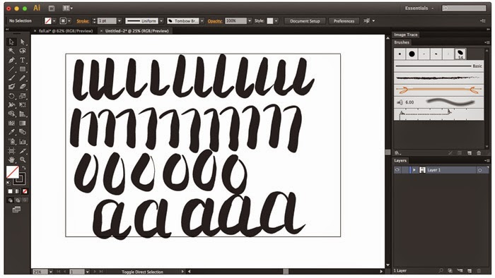 Practice brush pen strokes in Illustrator with Wacom Tablet