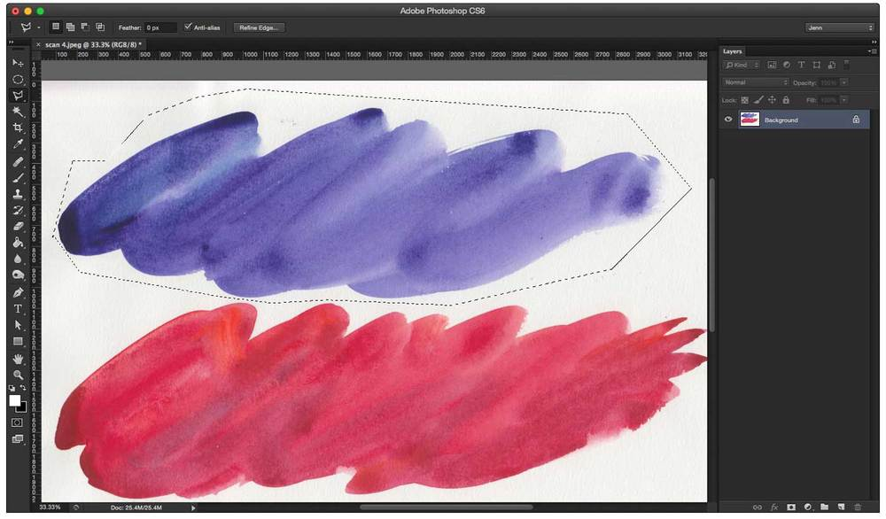 Select your watercolor stroke using the lasso tool