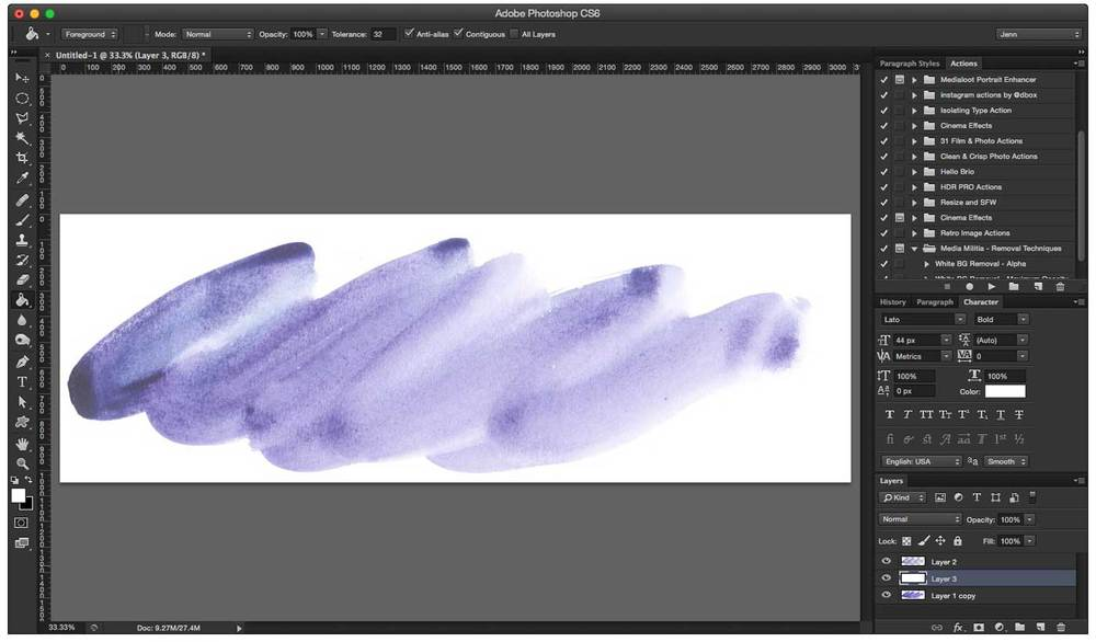 The preview of the one transparent layer of watercolor