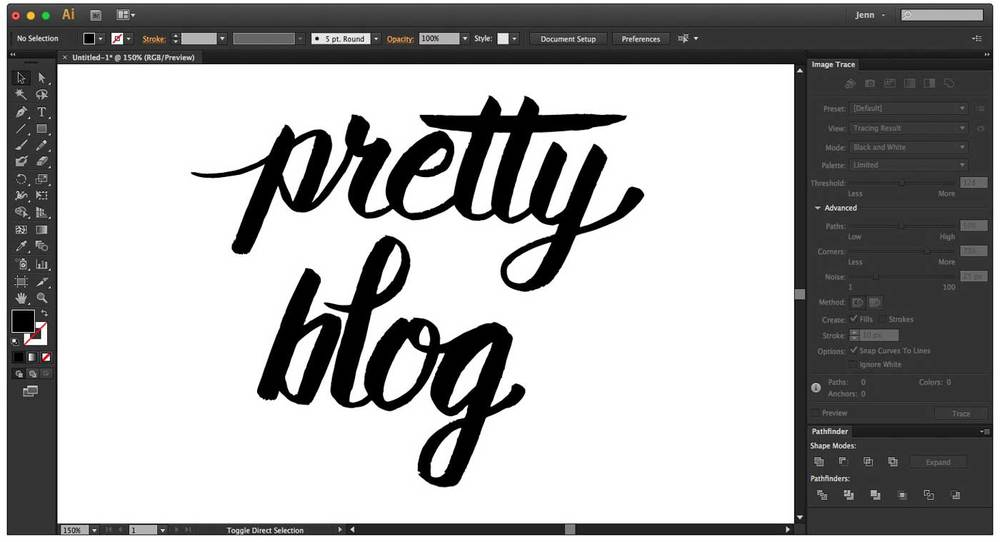 Digitized hand lettering in Illustrator