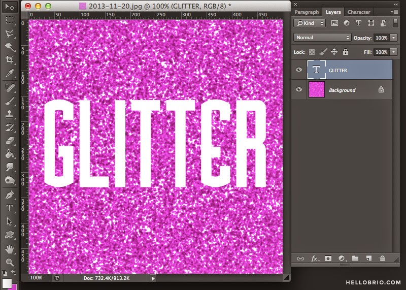 How to create your own glitter words and shapes in Photoshop - a tutorial on hellobrio.com
