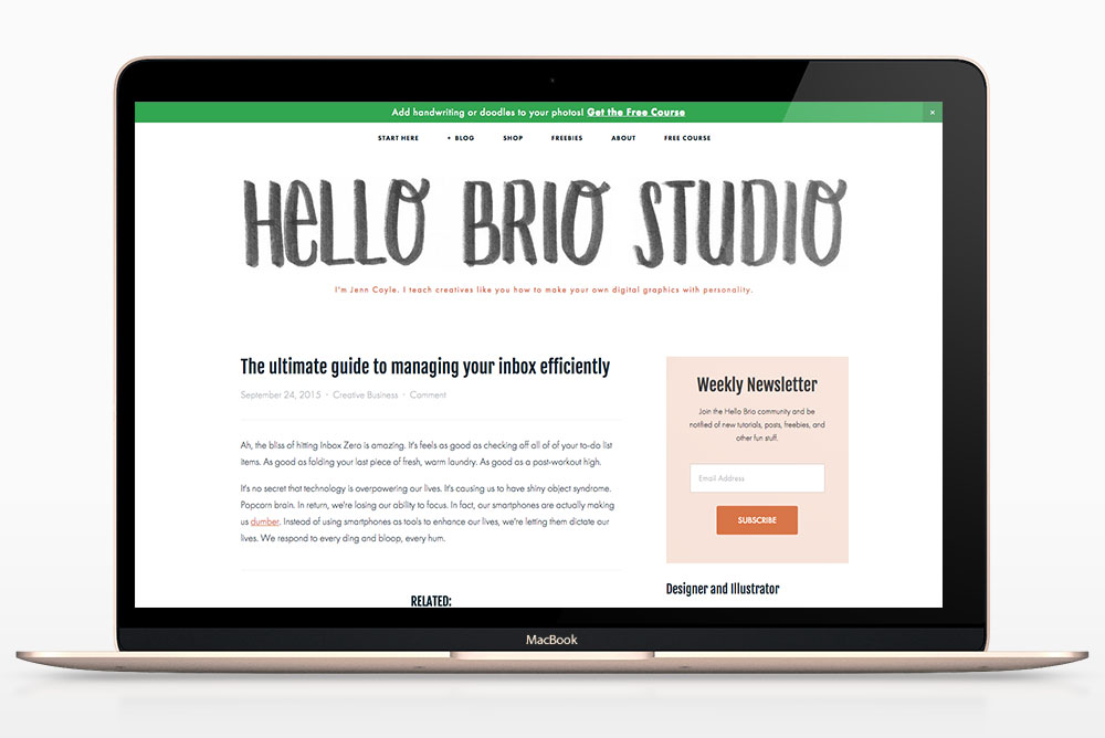 Hello Brio Studio redesign for 2016: After