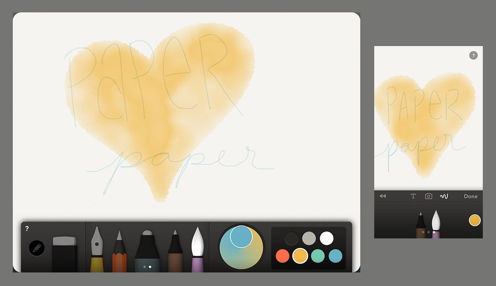 The watercolor brush on Paper app by FiftyThree