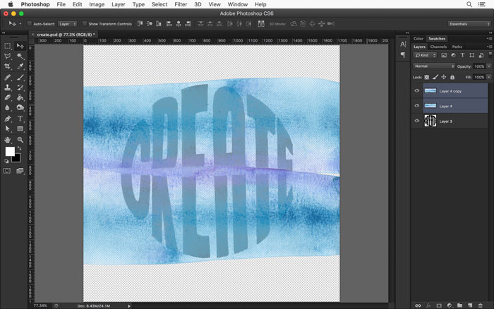 Place your watercolor texture over your hand lettered art.