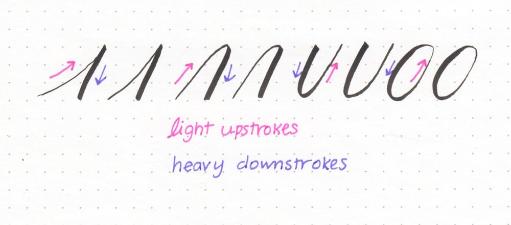 Brush lettering basics: upstrokes are light, and downstrokes are heavy. Practice smooth transitions between heavy and light strokes.