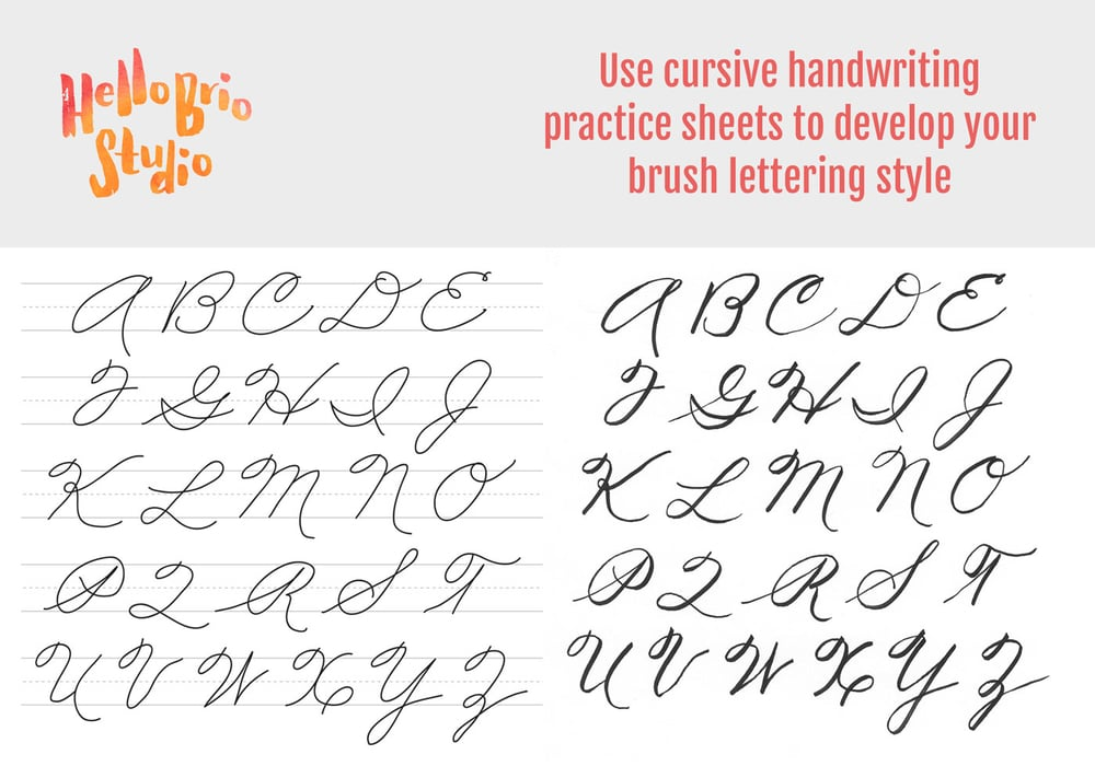 Use the free downloadable cursive worksheets to practice your brush lettering by tracing using a lightbox.