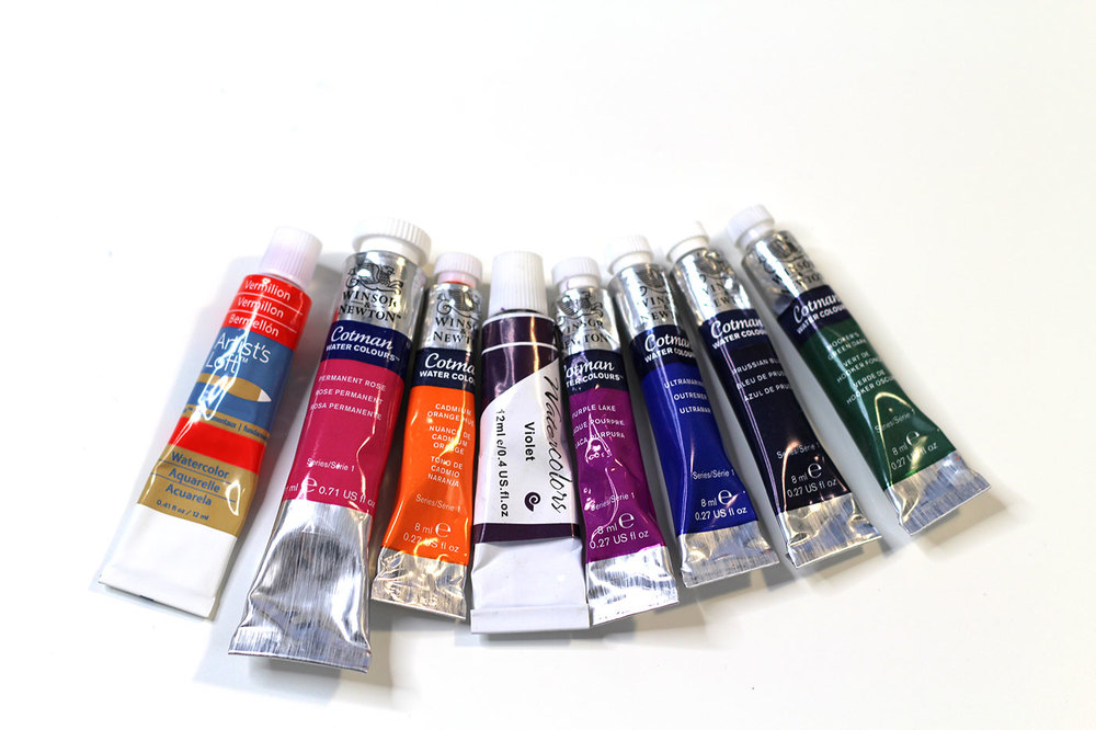 Watercolor colors I used in my travel palette - Winsor & Newton, Artist's Loft: Vermillion, Permanent Rose, Cadmium Orange Hue, Violet, Purple Lake, Ultramarine, Prussian Blue, Hooker's Green Dark