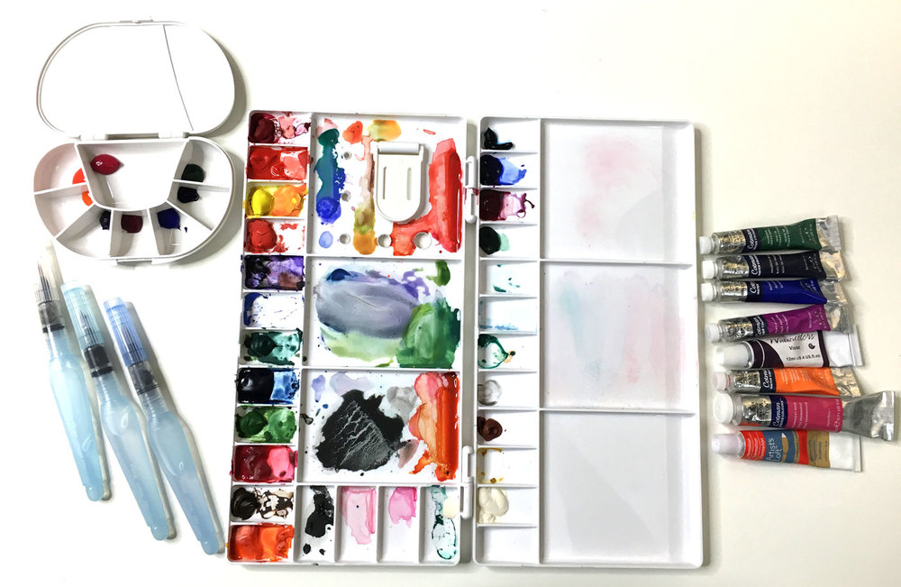 The whole watercolor setup
