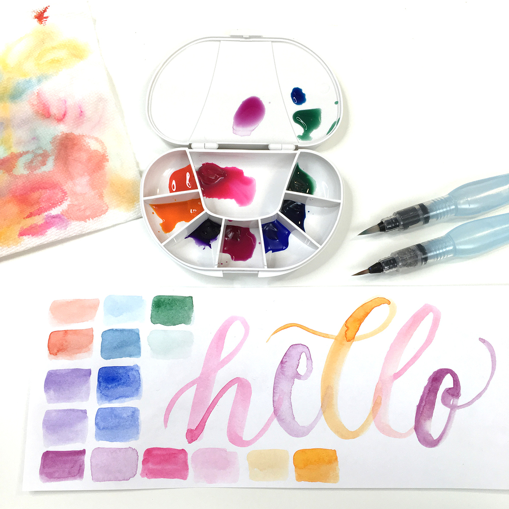 Testing my travel watercolor palette and making swatches using the Pentel Water Brushes