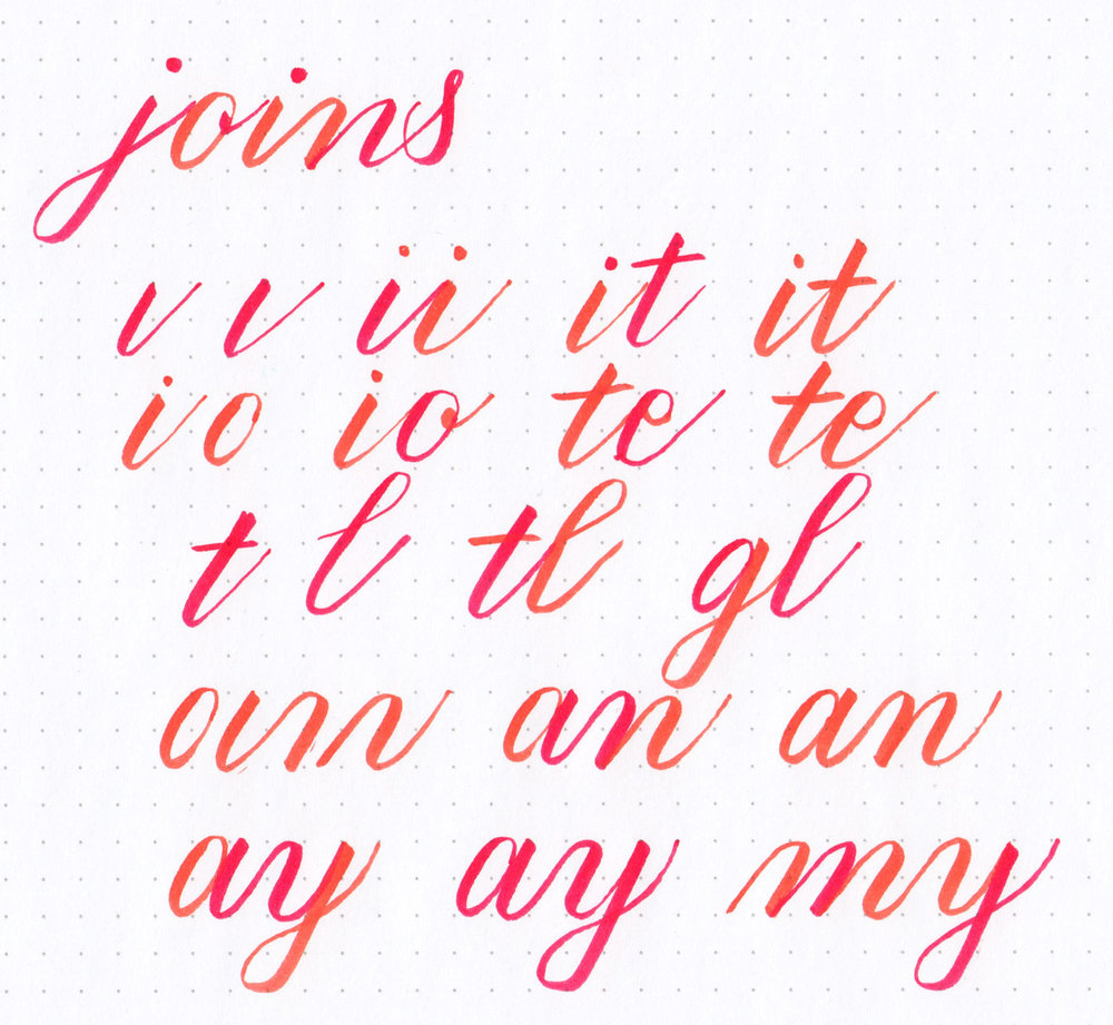 Brush calligraphy joins are easier than you think: they just involve planning ahead and lifting up your pen in strategic places! Learn more about brush lettering at hellobrio.com