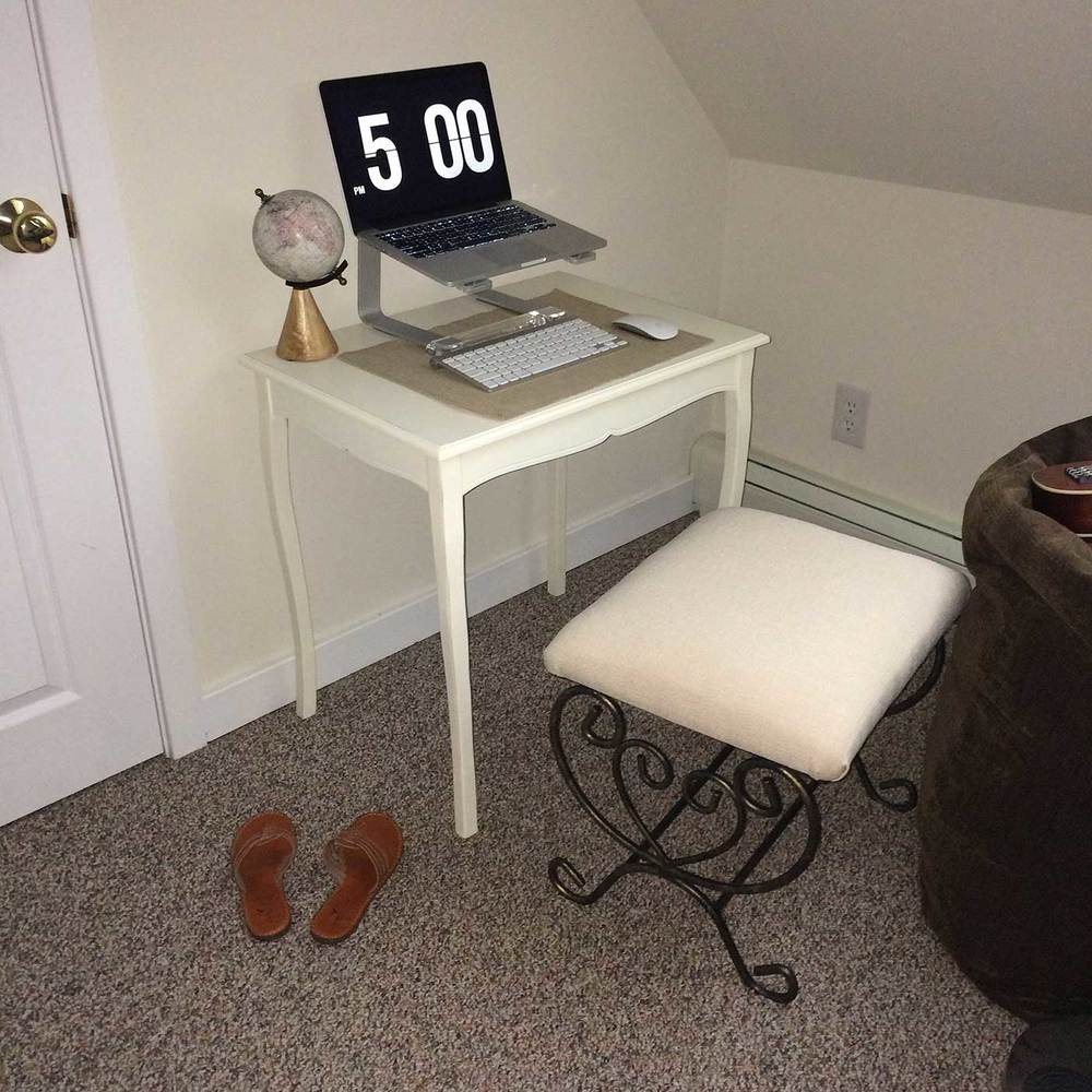 Old minimal writing desk - desk tour of a work from home mom entrepreneur