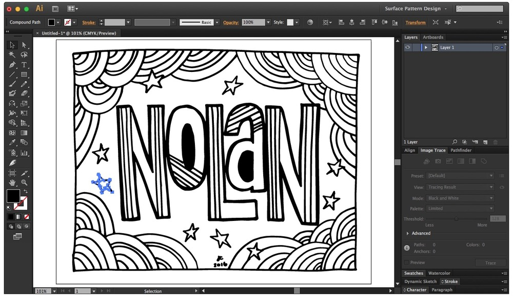 Clean up your DIY coloring book page in Illustrator