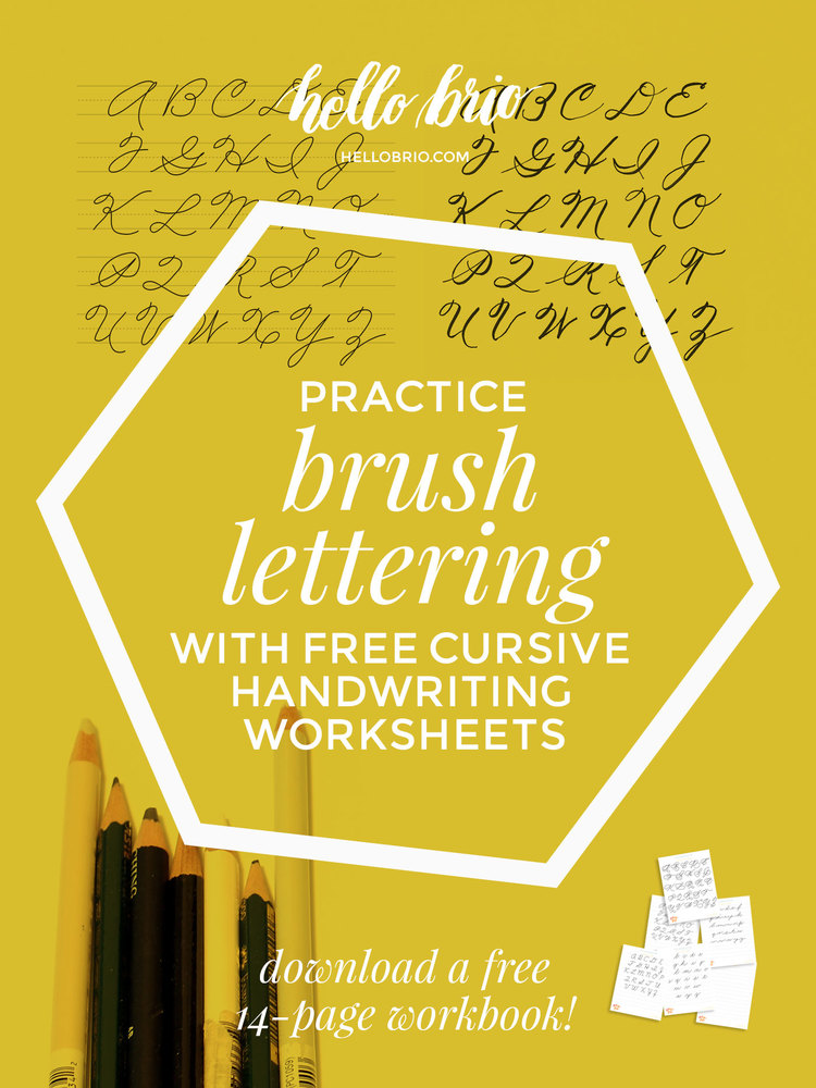 Learn And Practice Brush Lettering With Free Cursive Handwriting Worksheets Develop Your Personal Style