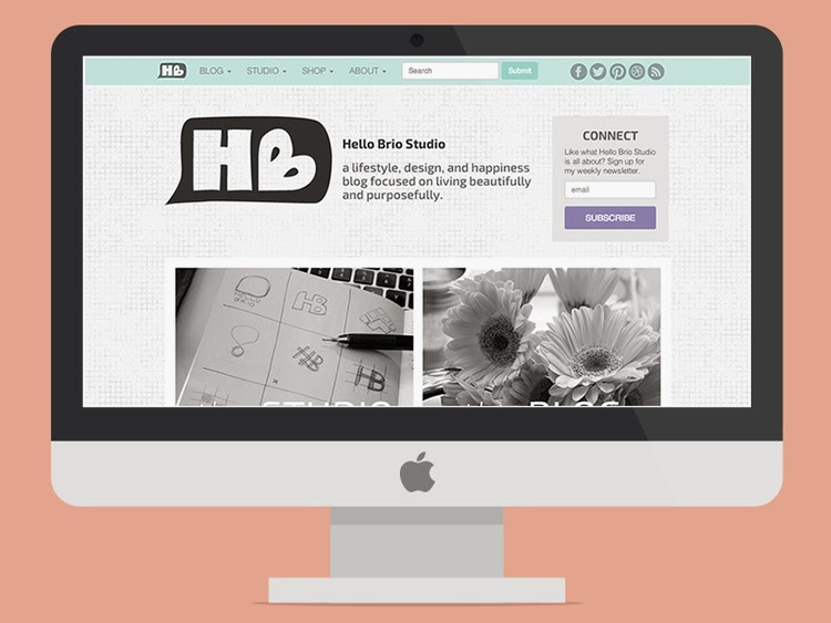 Hello Brio Studio blog redesign as featured on Dribbble