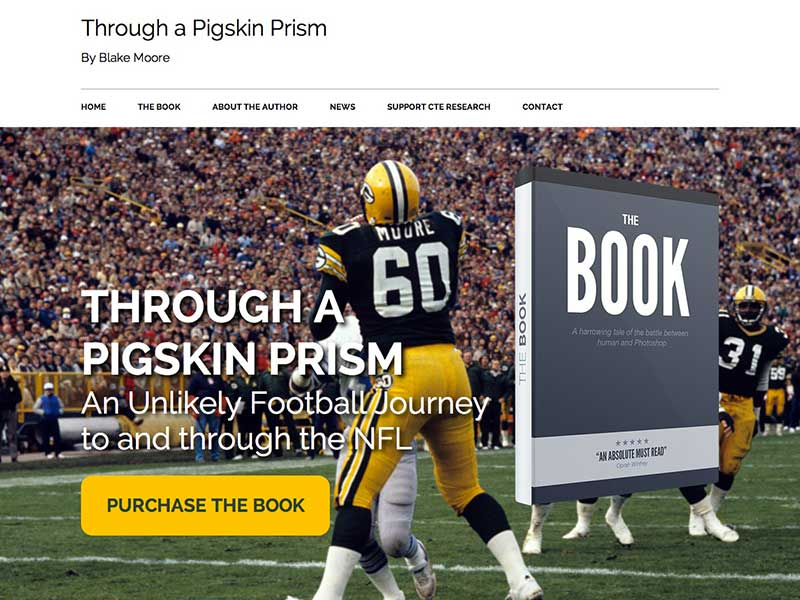 Custom WordPress theme for book author Blake Moore - Through a Pigskin Prism