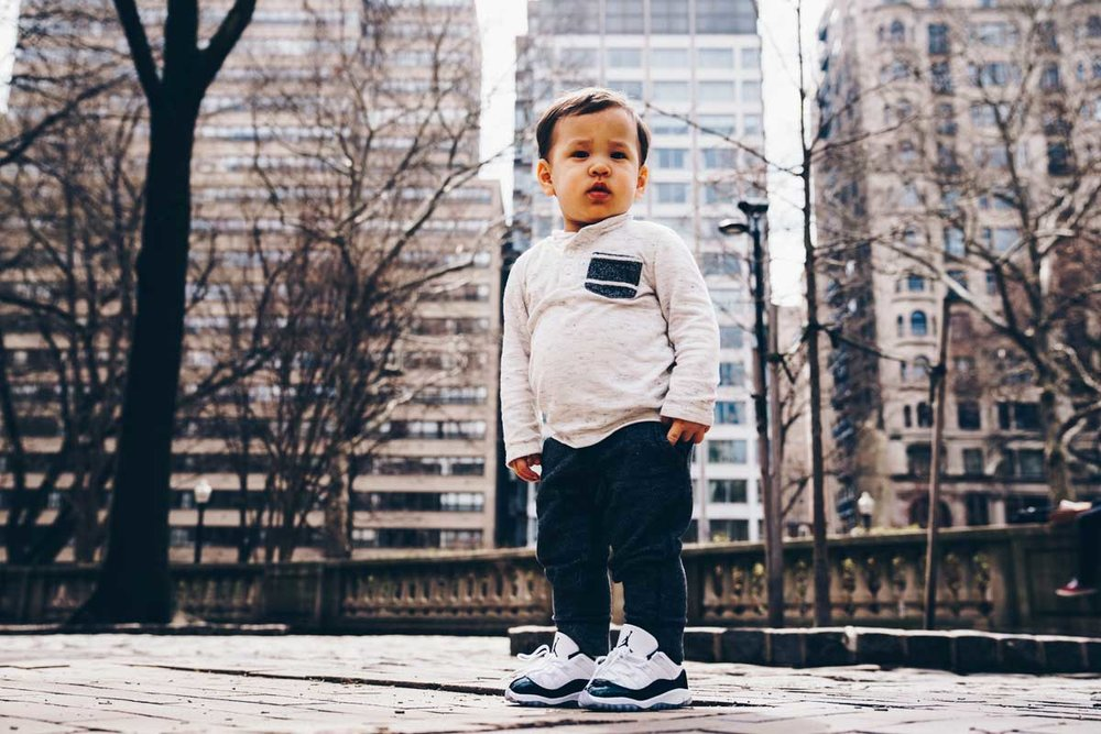 Beans modeling Air Jordan 11 Low Toddler shoes