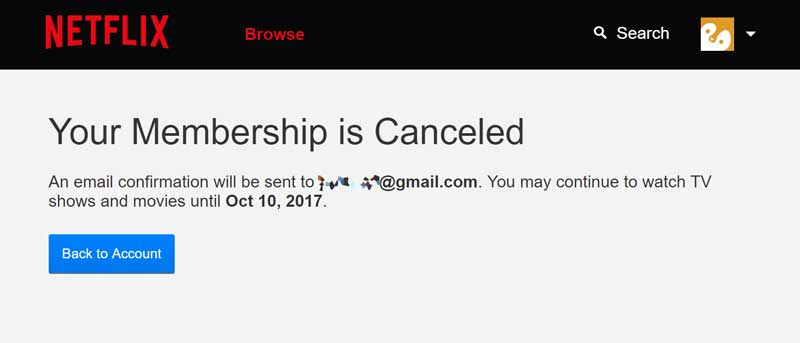 Netflix membership is cancelled
