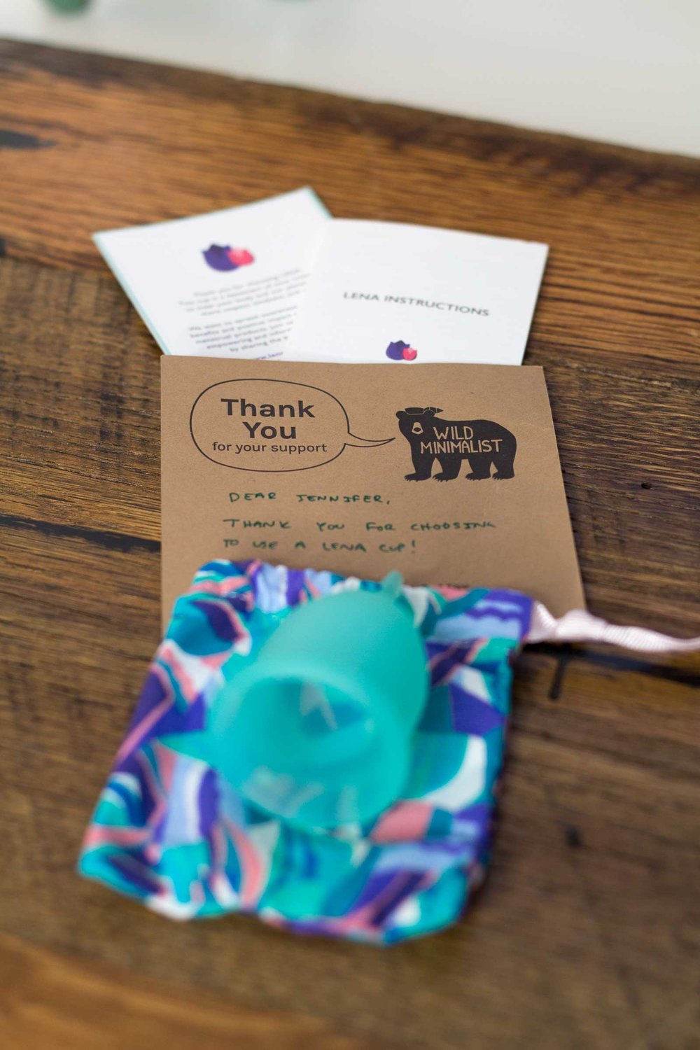Handwritten thank you note from Max and Lily of Wild Minimalist zero waste online shop and Lena Cup