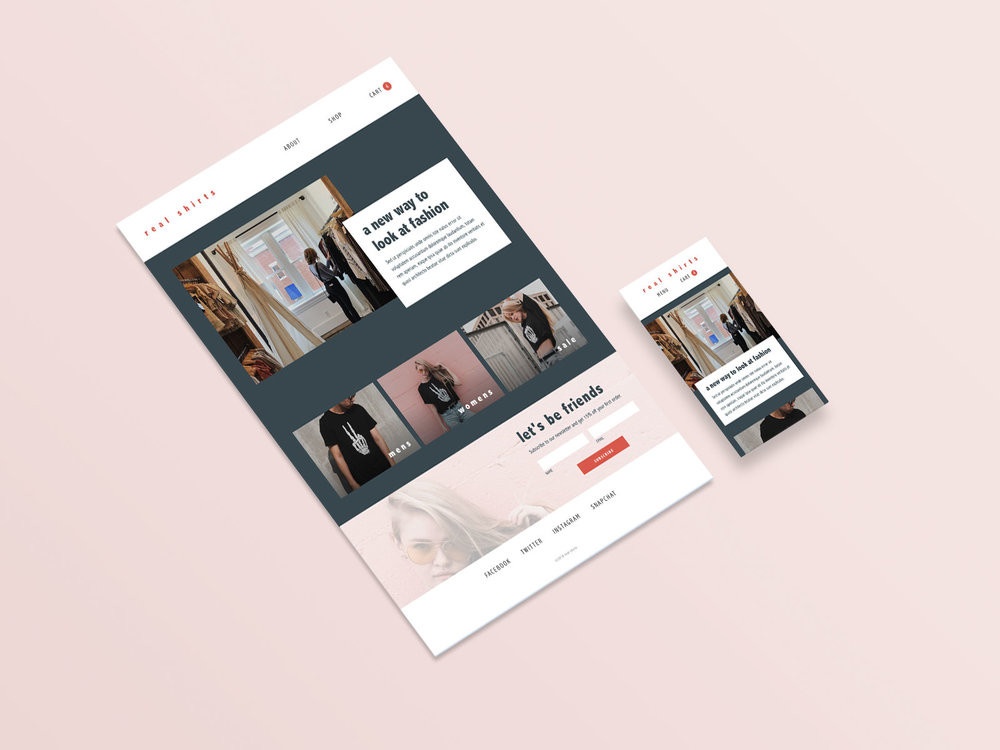 Real shirts ecommerce store homepage UI Design