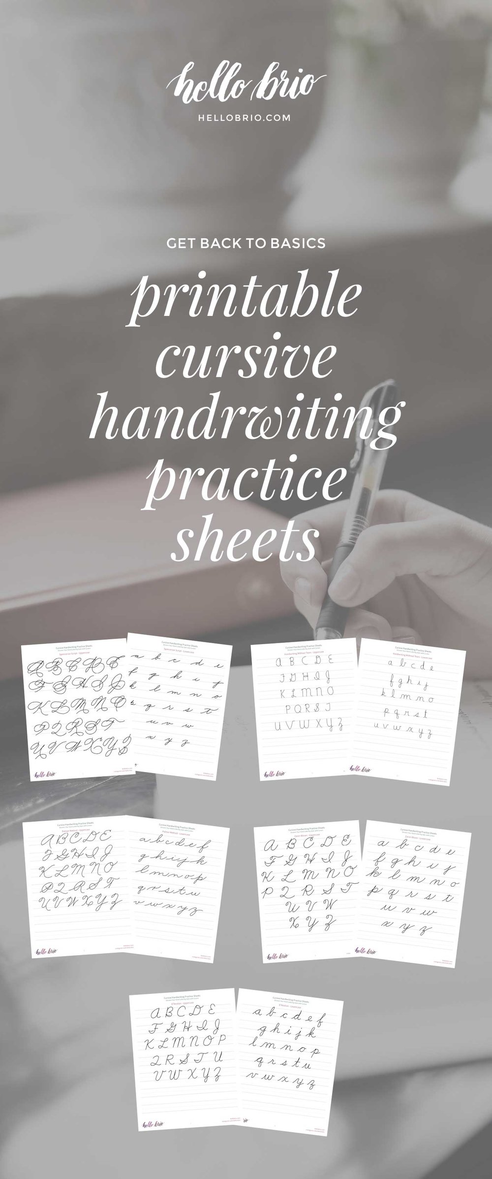 Printable cursive handwriting worksheets available at Hello Brio