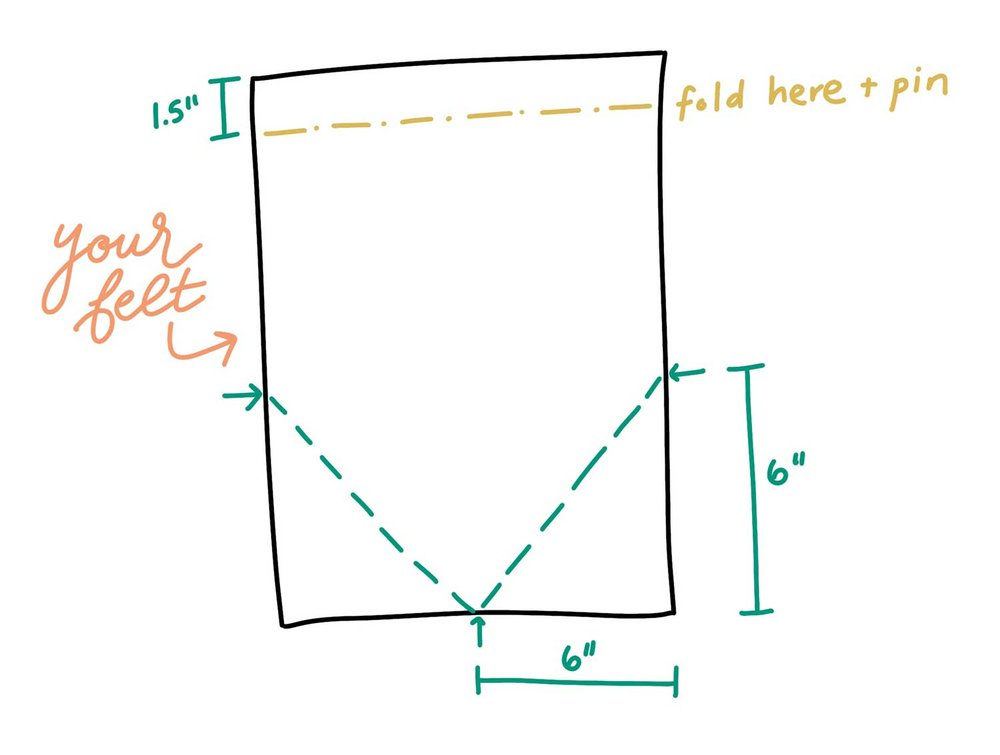 Cut along the green dotted lines; fold back along the yellow dotted line.