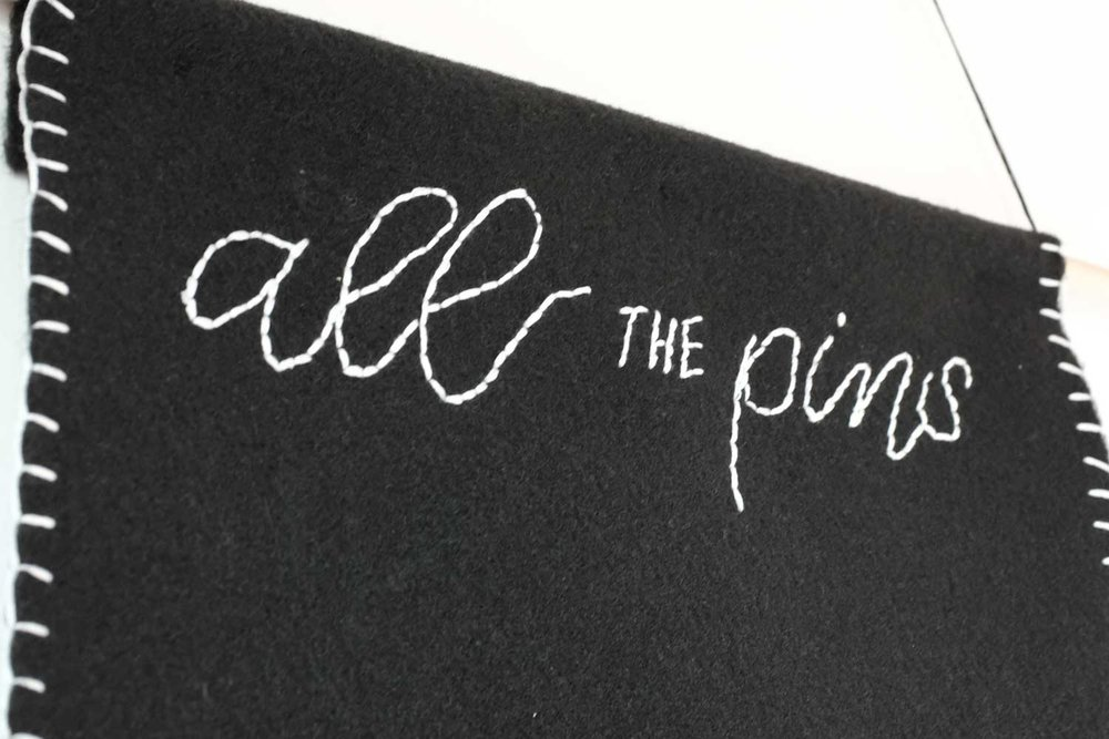 Tutorial   Enamel pin pennant on black felt with embroidered hand lettering   Hello Brio
