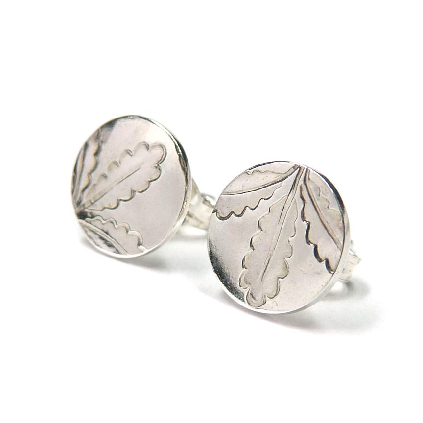 Silver Coin Stud Earrings