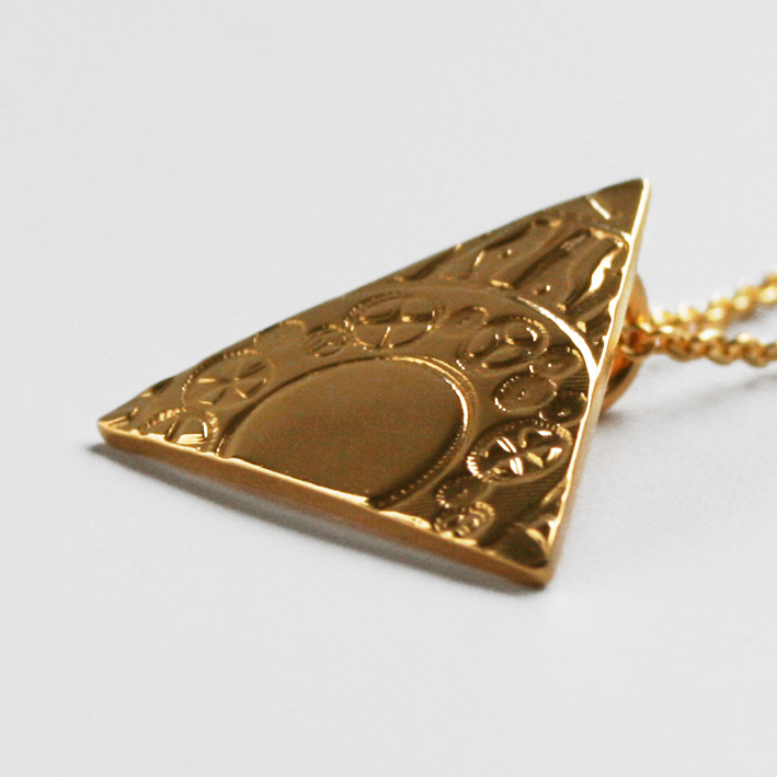 Triangle Necklace Gold Plate Sterling Silver