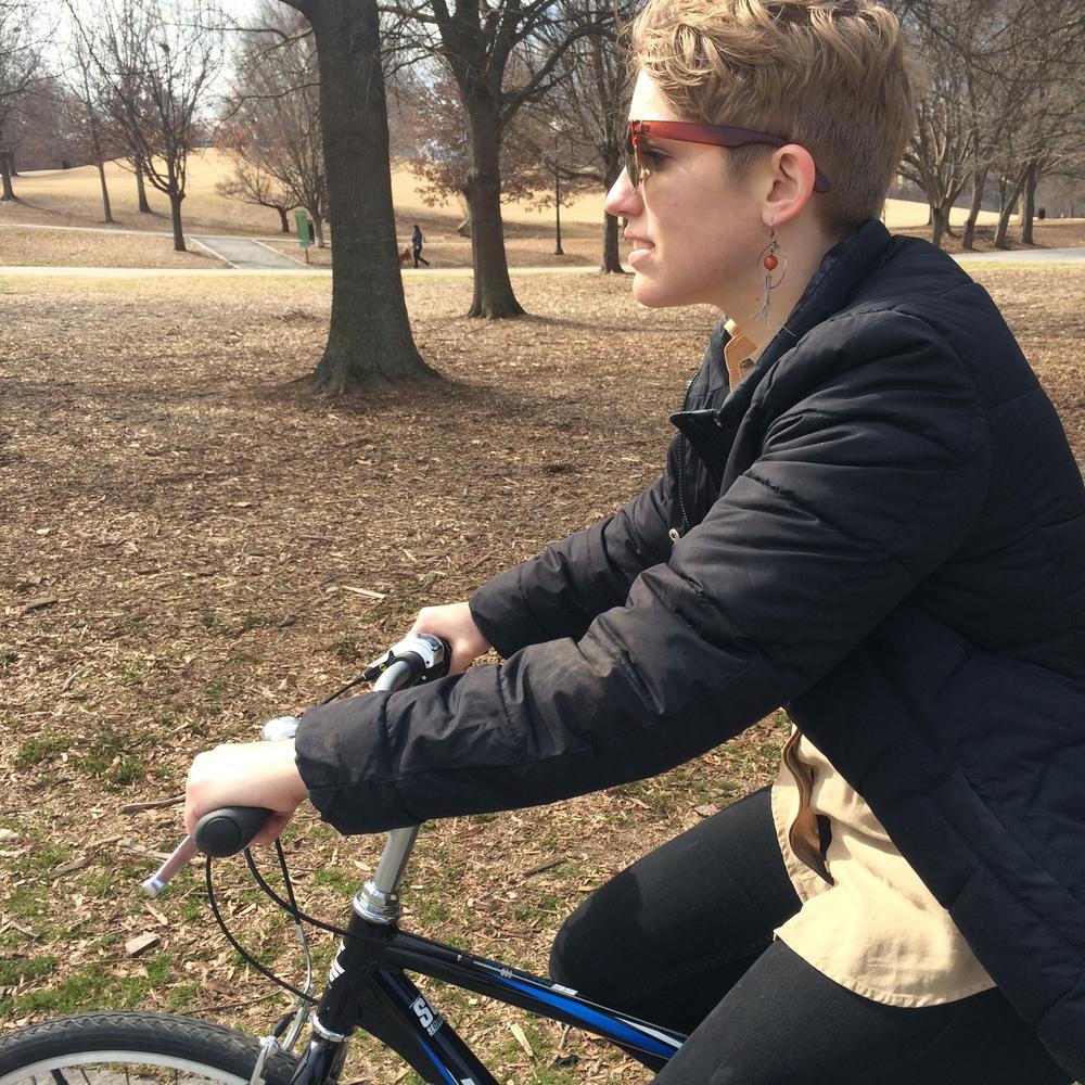 Molly rides a bike!