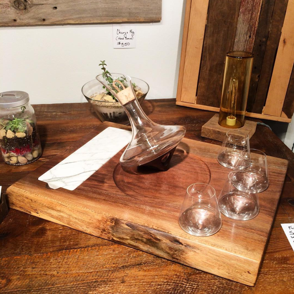 Custom Live Edge Service Tray with Marble Inset + Wine Set for Swoon Living