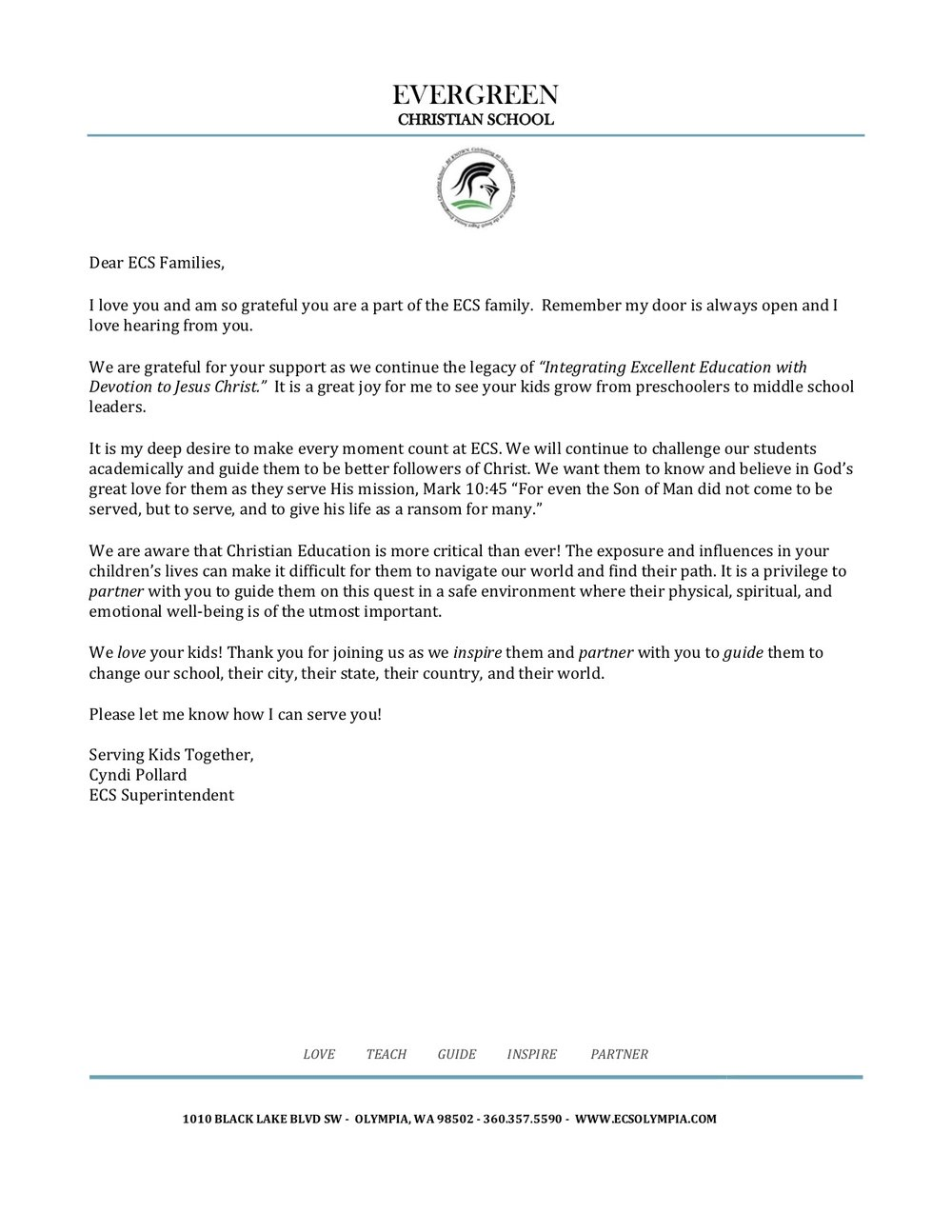 superintendent letter to families evergreen christian school