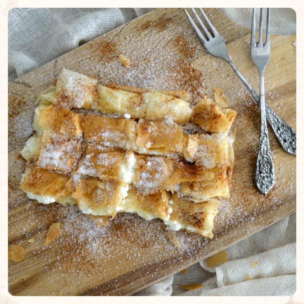 SWEET AND SOUR RICOTTA FILO PARCEL (BOUGATSA)