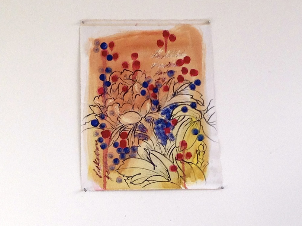 """Oil (Sumi Ink Flowers) Text Background  4 x 19"""""""