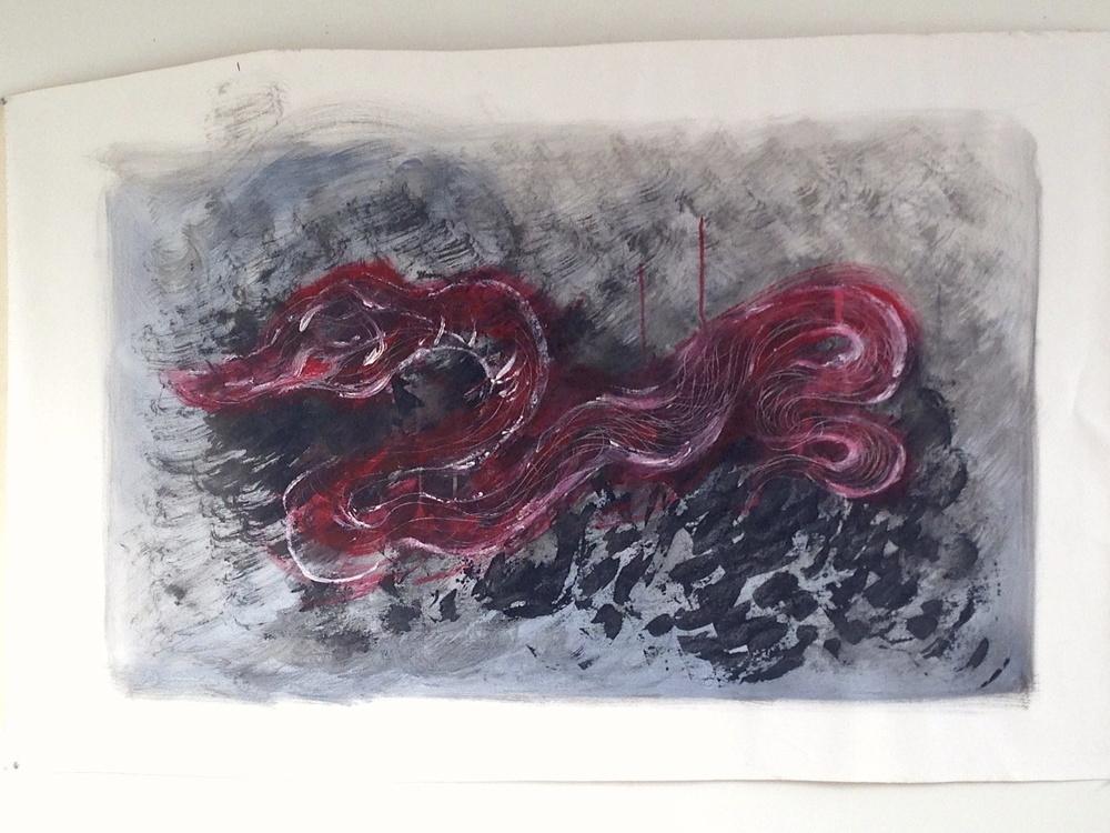 Snake  Acrylic & Ink  Unstretched Canvas  62 x 41""