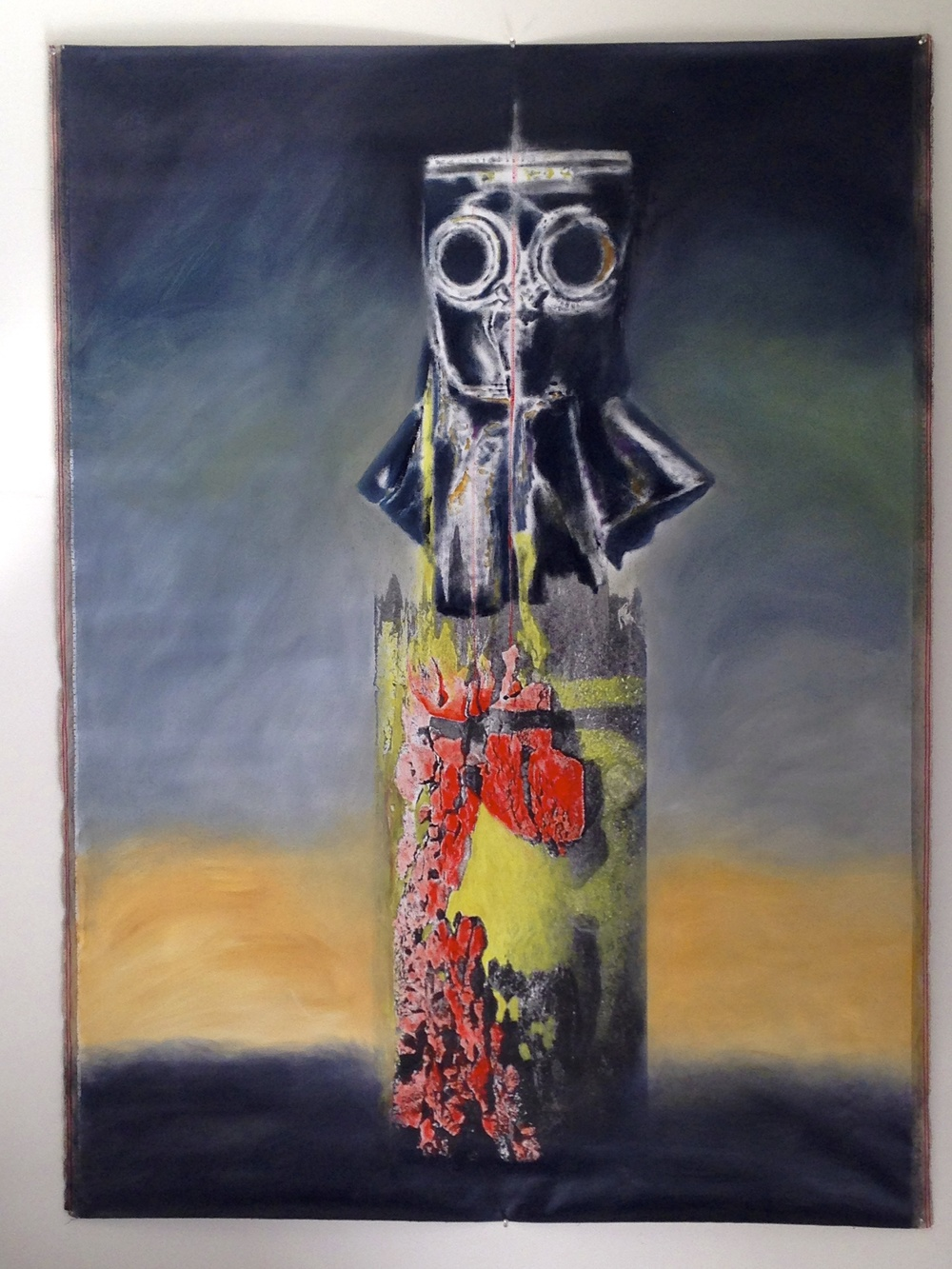 """Landscape & Gas Mask Photo Montage by Clawhammer Horizontal Unstretched Canvas  75 x 54"""""""