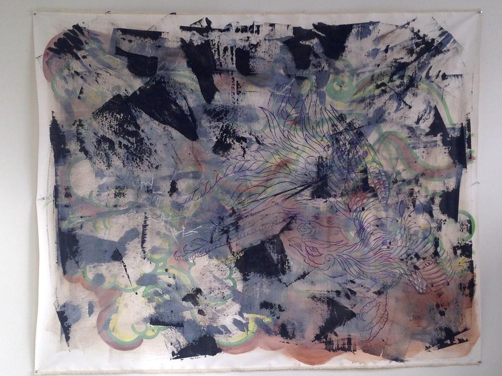 "Acylic / Oil- Sharpie Marker Phoenix Acrylic Black Squeegee  68 x 55"""