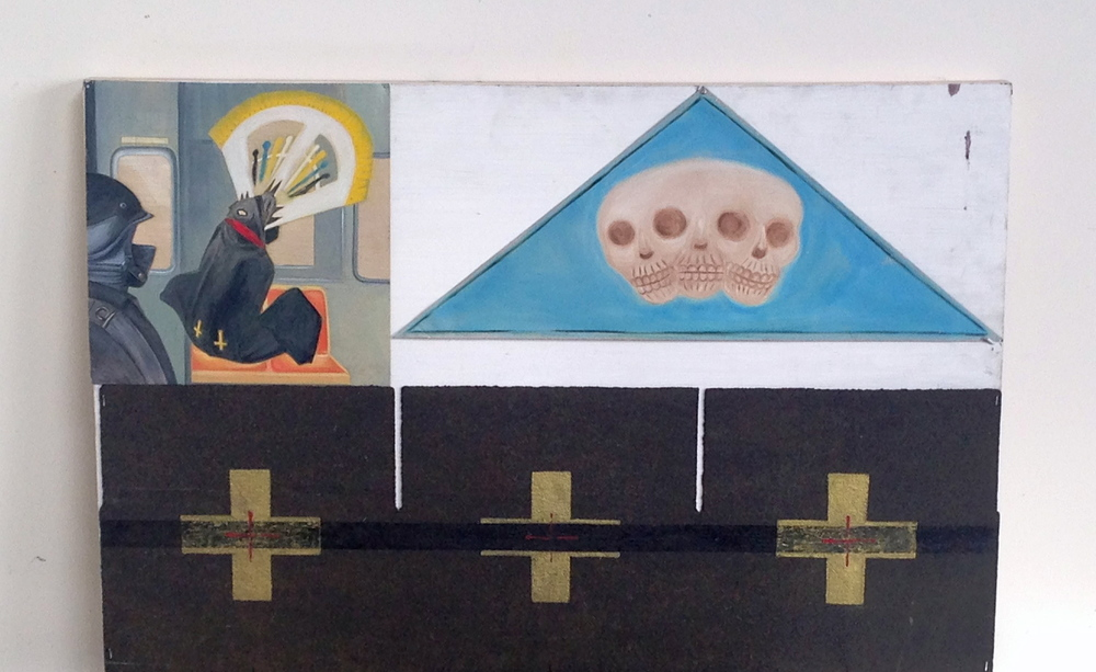 "Wood With Sheet of Roof Tar  Aluminum / Oil Painted Panels  36 x 24""  Tin With Soldier & Witness on Subway 36 x 24""  24\15"" Skull on Tin"