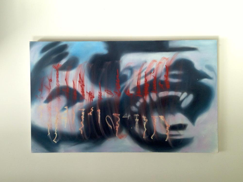 """Hyena & Face Canvas / Oil / Oil Text  60 x 36"""""""