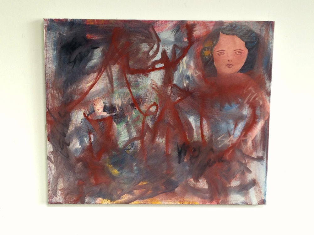 "Pin Up Girl Head Canvas- Acrylic & Oil  24 x 20"""