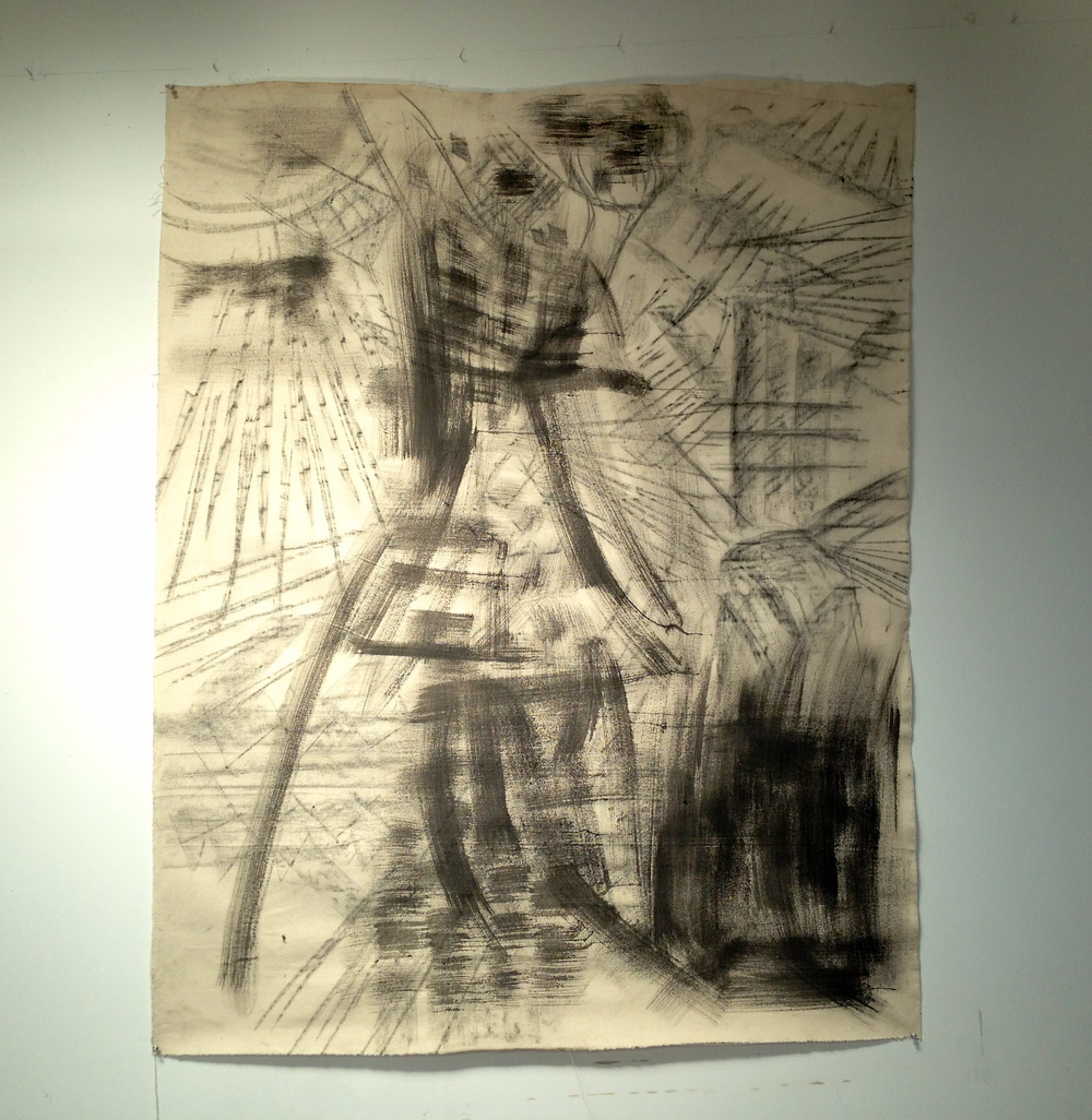 """Ink Charcoal Abstract Black Only Unstretched Raw Canvas  54 x 68"""""""