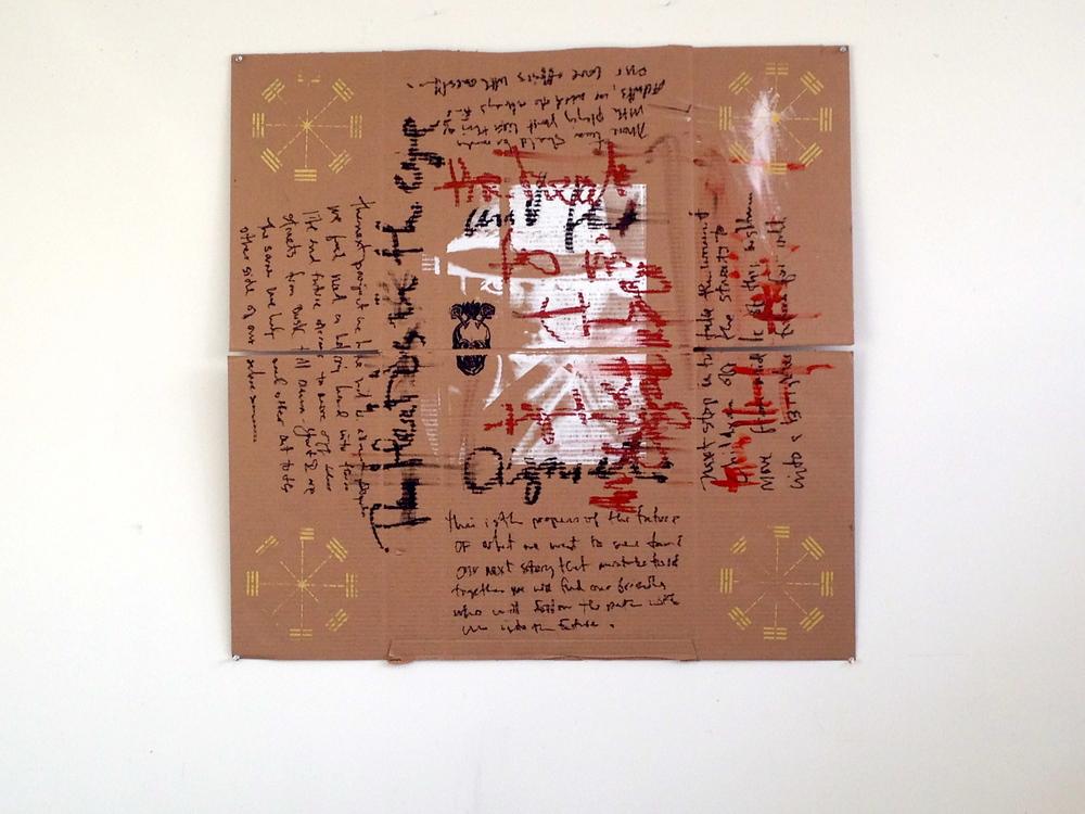 """Cardboard / Oil / Stencil / Gold Paint  40 1/2 x 40"""""""