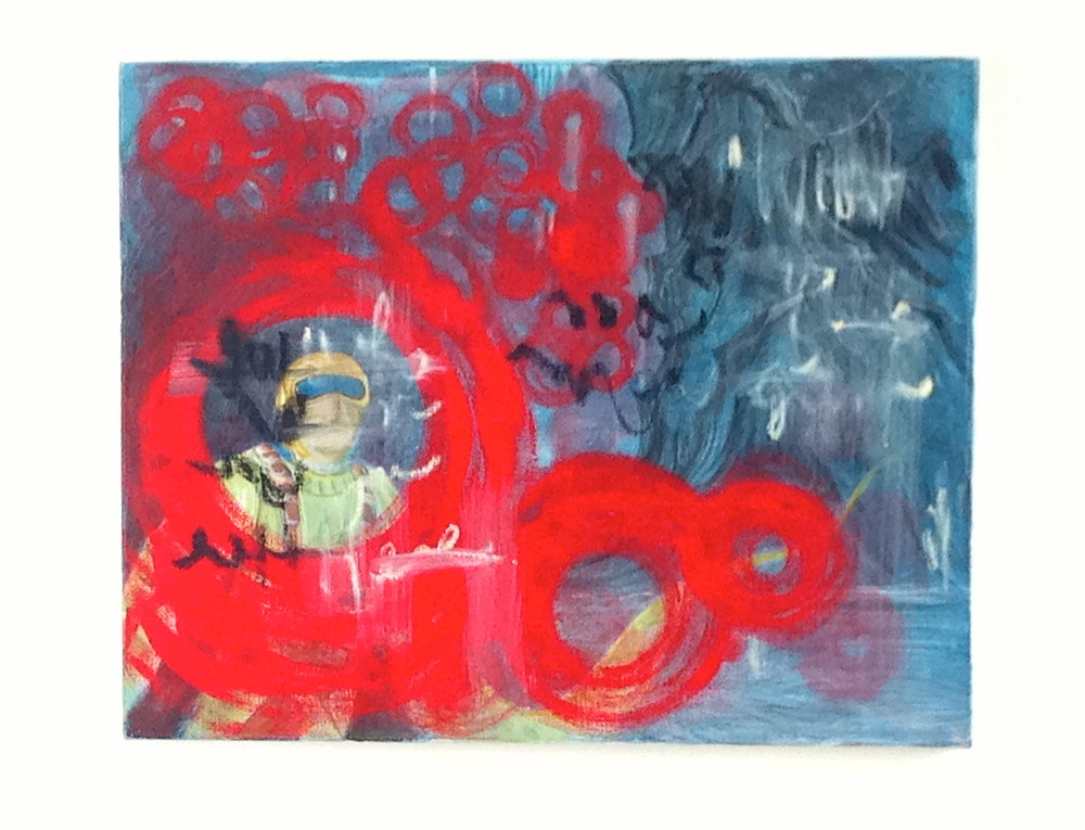 """Space Guy Trapped in red Circles Oil & Acrylic on Canvas  30 x 24"""""""
