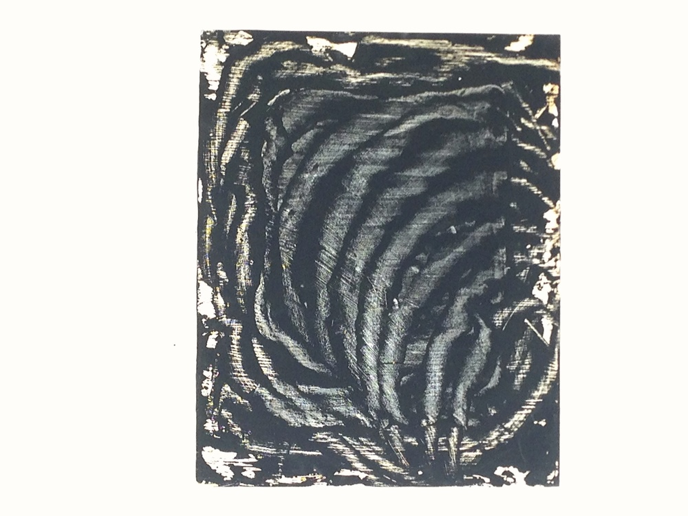 """Abstract Black Ink Wood Panel  16 x 20"""""""