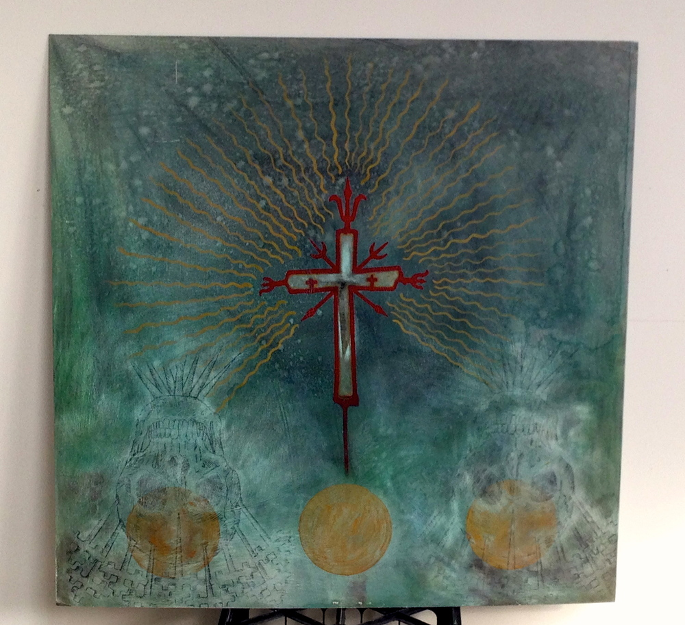 Omen of Future Healing  Aluminum Sheet / Oxidized  Gold Paint & Acrylic  36 x 36""