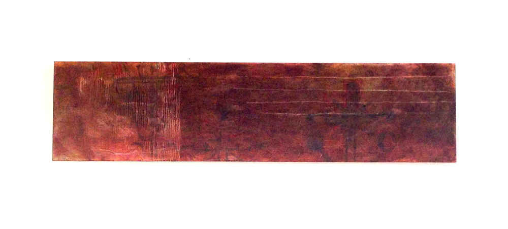 Obscured  Acrylic - Wood Panel  48 x 12""