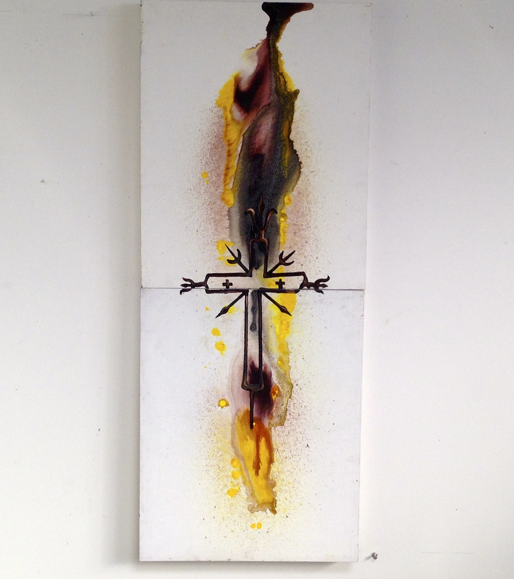 Axis Mundi en Fuego  2 Panel Masonite  Ink / Acrylic Crosses  Yellow & Grey  16 x 20""