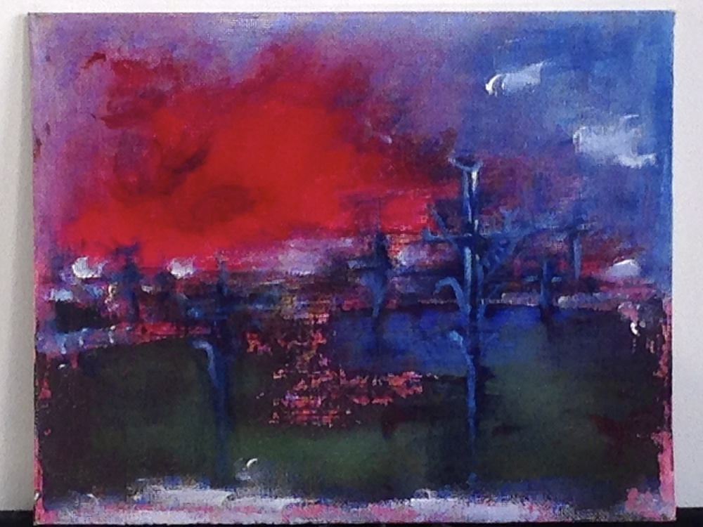 Red Fortress Acrylic on Canvas Panels   8 x 10""